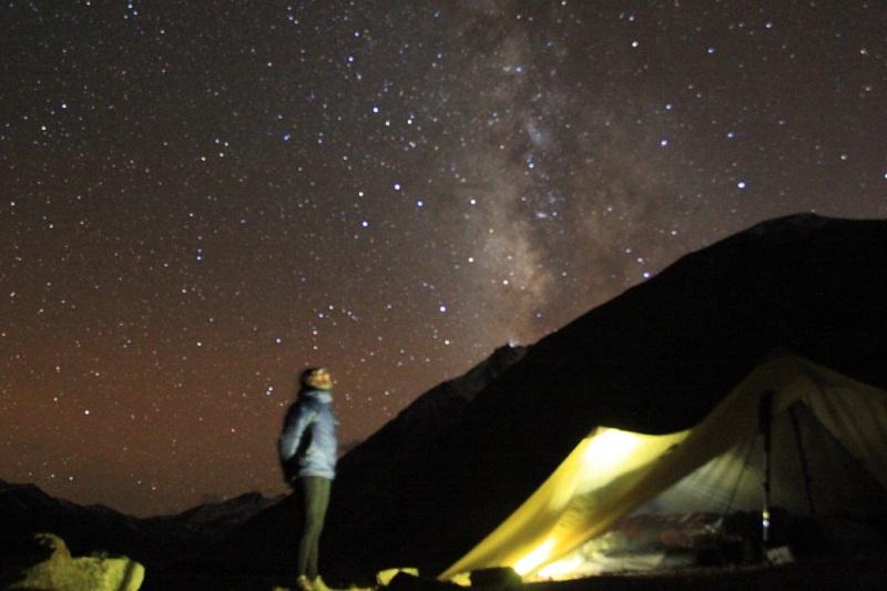 Incredible Milky Way. Bivaouc at the foot of Nyula La pass (5000m).