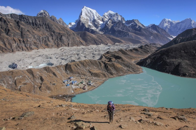 Nepali people really hope tourists are going to return this year! Gokyo Ri. Solo Khumbu. Nepal.