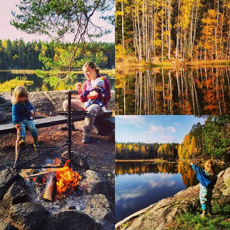 Family adventure in Nuuksio National Park. Southern Finland. October 2018