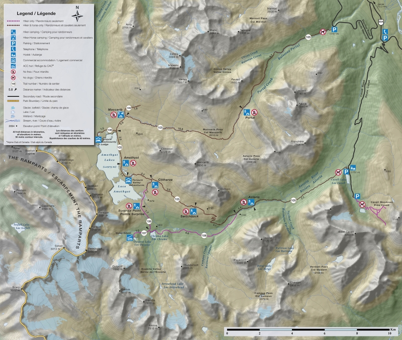 Tonquin Valley map, Jasper National Park
